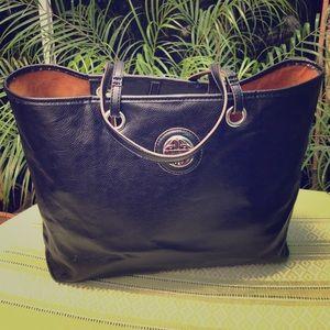 Kate Landry large faux leather shopper tote bag